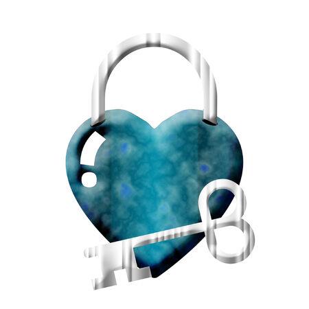 예쁜 심장 자물쇠와 은색 열쇠 일러스트