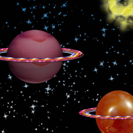 colorful planets in deep space  向量圖像