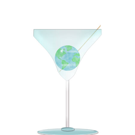 the planet earth in a martini glass  Иллюстрация
