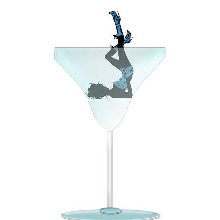 a woman in a martini glass  Иллюстрация