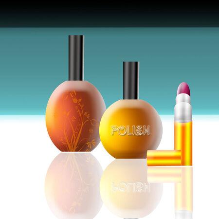 some cosmetics and perfume to make you beautiful  Ilustração
