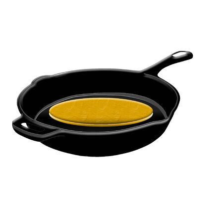een zwarte koekepan met een pannenkoek erin