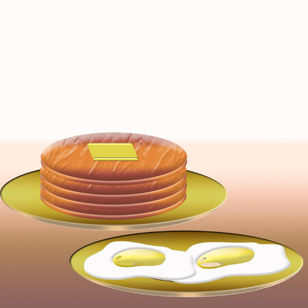 fried: a plate of fried eggs and a stack of pancakes