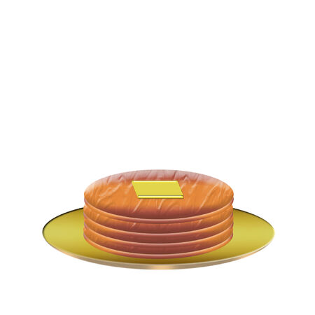 a large stack of pancakes with butter on top Stock Illustratie