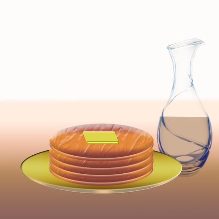 a plate of pancakes and a bottle of syrup  Ilustracja