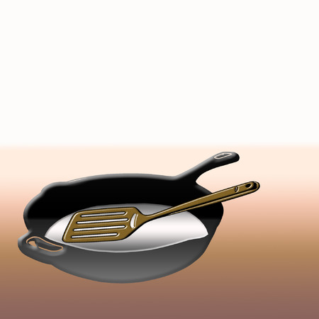 a metal skillet and a spatula in it