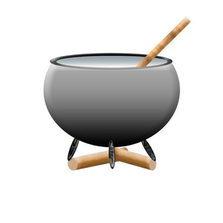a big black cauldron ready for witch to use Banco de Imagens - 6360673
