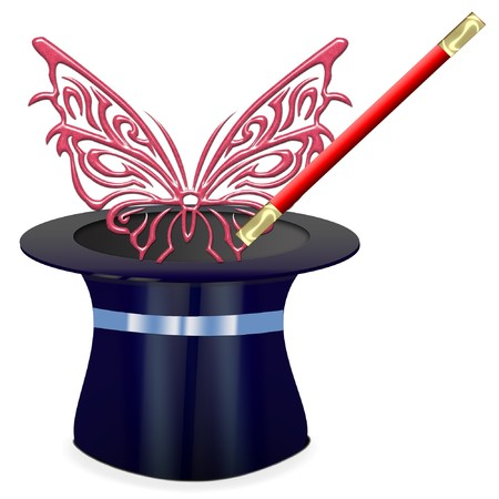a magician hat with a wand