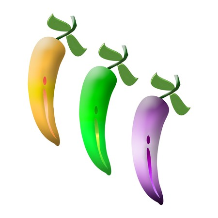 some chili peppers done in bright pretty colors