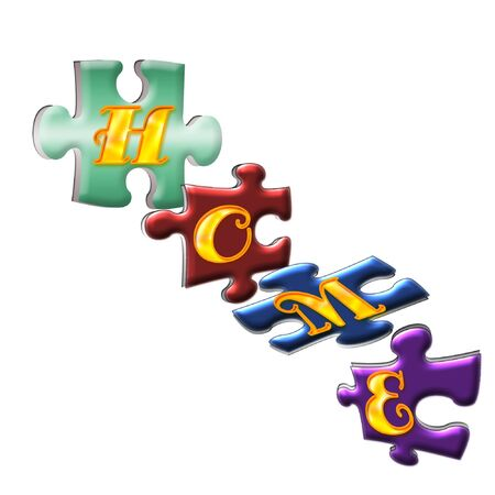 several colorful puzzle pieces spelling out home
