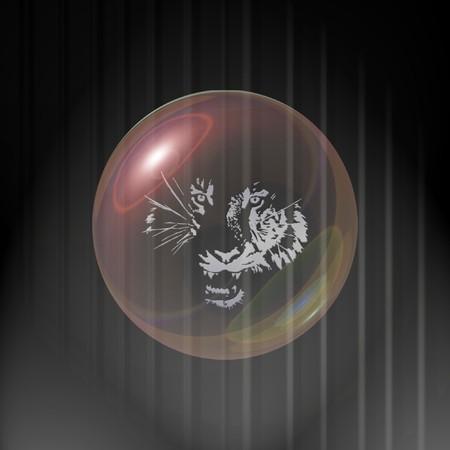 a crystal ball with an animal in it Ilustração