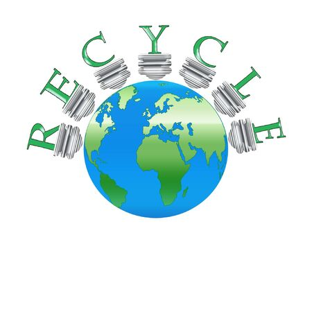 please help recycle for the planet Ilustrace