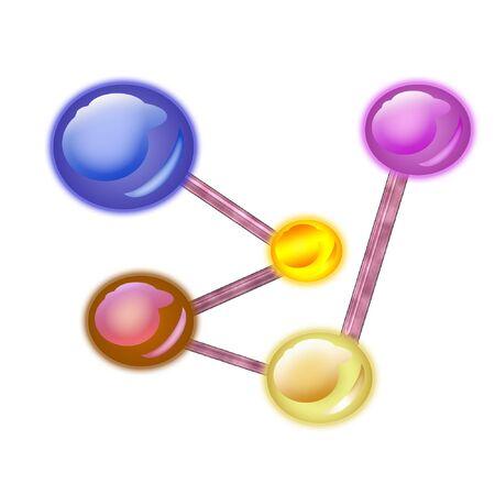 接続されている分子の大規模なカラフルなグループ