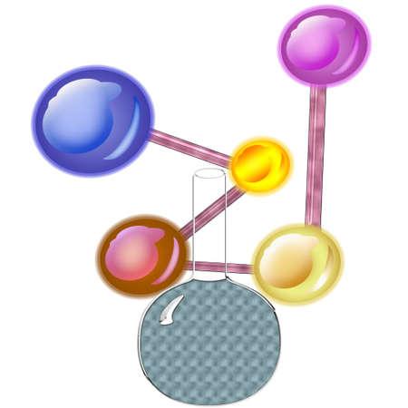 接続されている分子の大きくてカラフルなグループ