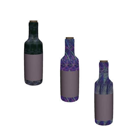 wine bottles done in cool colors