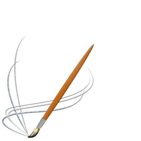een verf kwast en kleurrijke verf lijnen voor een cool logo