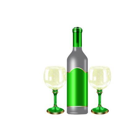 fles wijn en glazen gedaan in koele kleuren