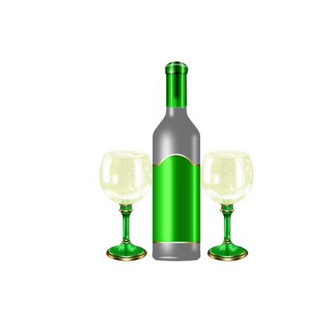 cool colors: wine bottle and glasses done in cool colors Illustration