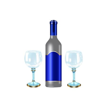 wine bottle and glasses done in cool colors Illustration