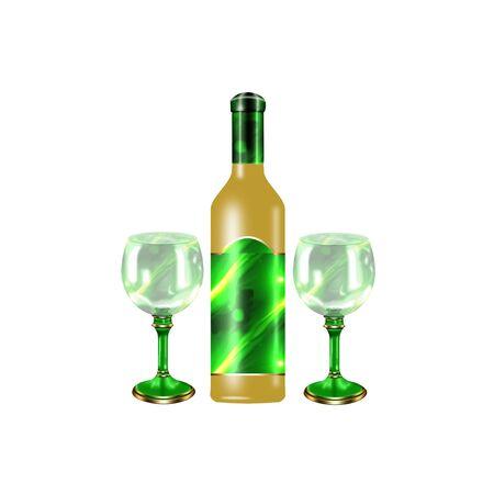 wijn fles en glazen gedaan in koele kleuren