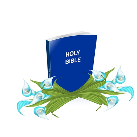 a bible and easter lilies Çizim