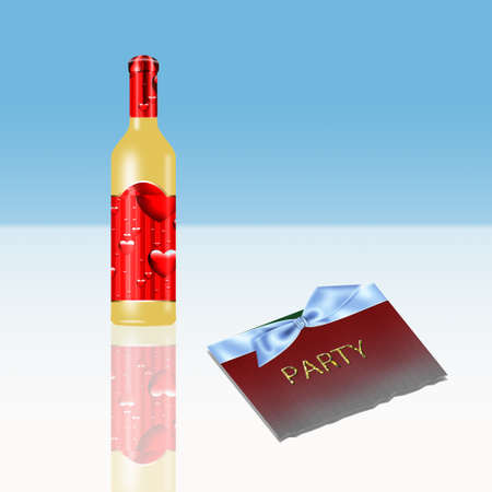 a wine bottle with party invitation