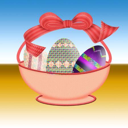 eggshells: bonita cesta de Pascua llena de huevos