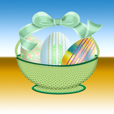 pretty easter basket full of eggs