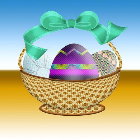 eggshells: bonita canasta de Pascua llena de huevos