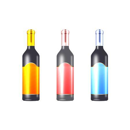 wijnflessen gedaan in koele kleuren Stock Illustratie