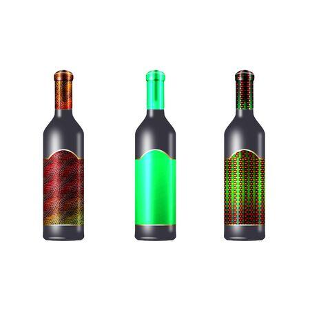 wijn flessen gedaan in koele kleuren