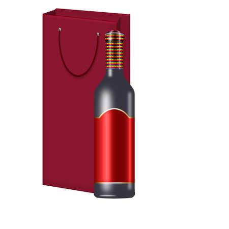 een fles wijn met zak