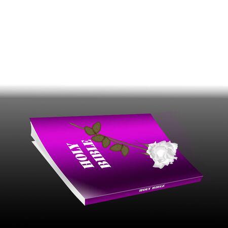 a bible and a pretty white rose Çizim