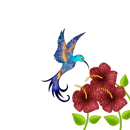 a hummingbird with pretty flowers 矢量图像