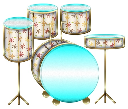 a set of drums done in bright colors