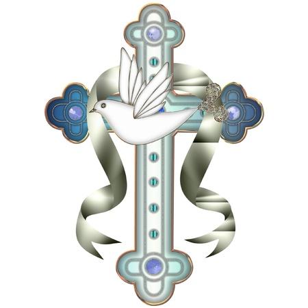 een kruis en een duif Stock Illustratie