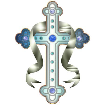 una antigua Cruz en colores bonitas Ilustración de vector