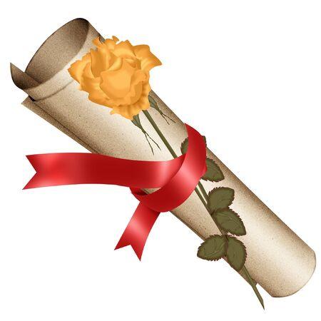 a scroll and a pretty rose