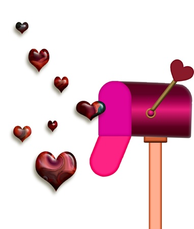 a mailbox with pretty hearts floating out Ilustração