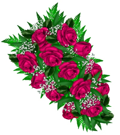 a beautiful wedding bouquet of roses Çizim