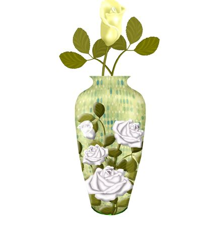 a pretty vase with flowers in it Vector