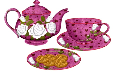 a pretty tea set and plate of cookies Ilustração