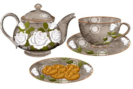 tea hot drink: a pretty tea set and plate of cookies Illustration