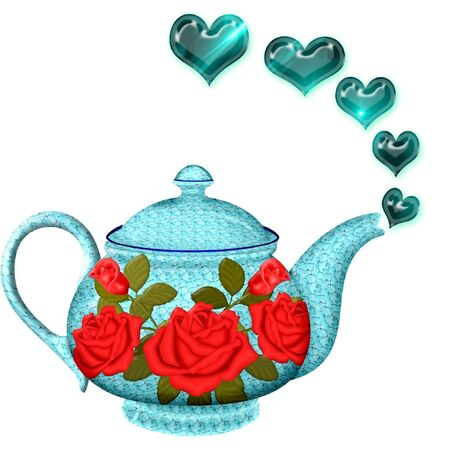 objects: a pretty tea pot with hearts coming out of it