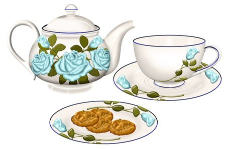 a pretty tea set and plate of cookies Иллюстрация