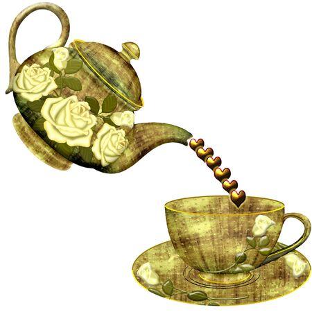 a tea pot pouring hearts into a cup