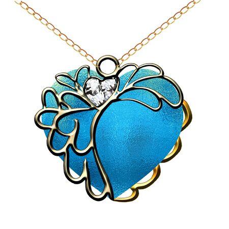 a pretty heart pendant on a gold chain Stock Vector - 8928826