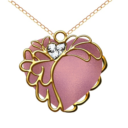 a pretty heart pendant on a gold chain Imagens - 8928820