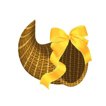 a pretty wicker Cornucopia with a bow