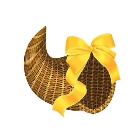 plenty: a pretty wicker Cornucopia with a bow